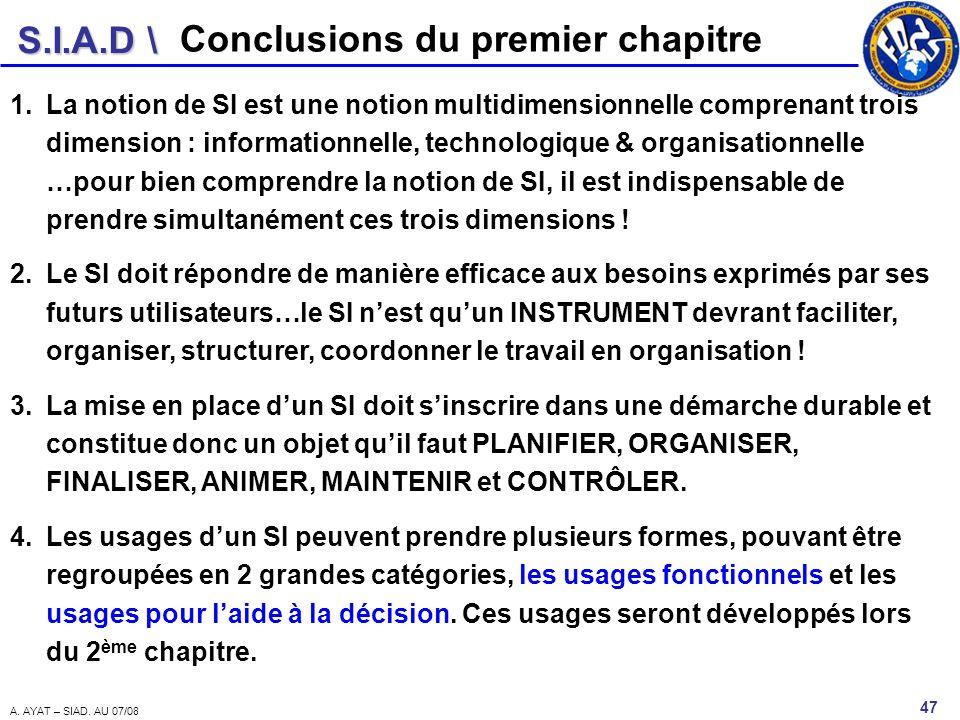 S.I.A.D \ 47 A. AYAT – SIAD. AU 07/08 Conclusions du premier chapitre 1.La notion de SI est une notion multidimensionnelle comprenant trois dimension