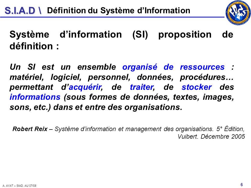 S.I.A.D \ 6 A. AYAT – SIAD. AU 07/08 Définition du Système dInformation Système dinformation (SI) proposition de définition : Un SI est un ensemble or