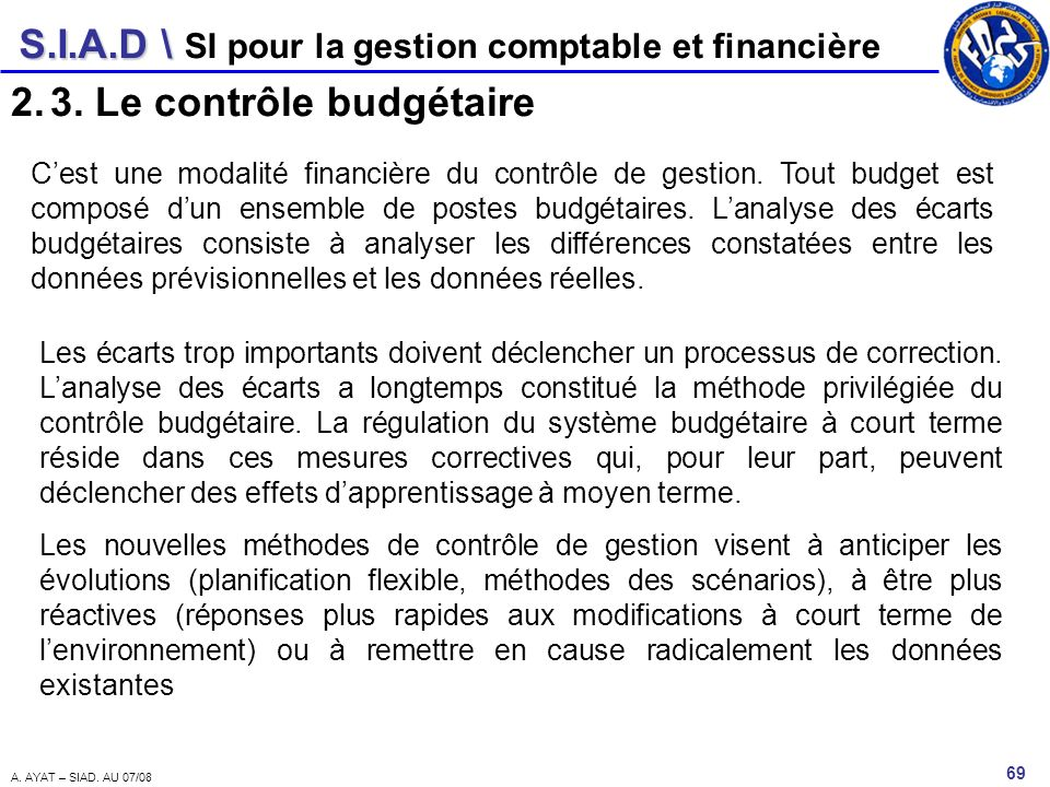 S.I.A.D \ 69 A. AYAT – SIAD. AU 07/08 SI pour la gestion comptable et financière 2.3. Le contrôle budgétaire Cest une modalité financière du contrôle