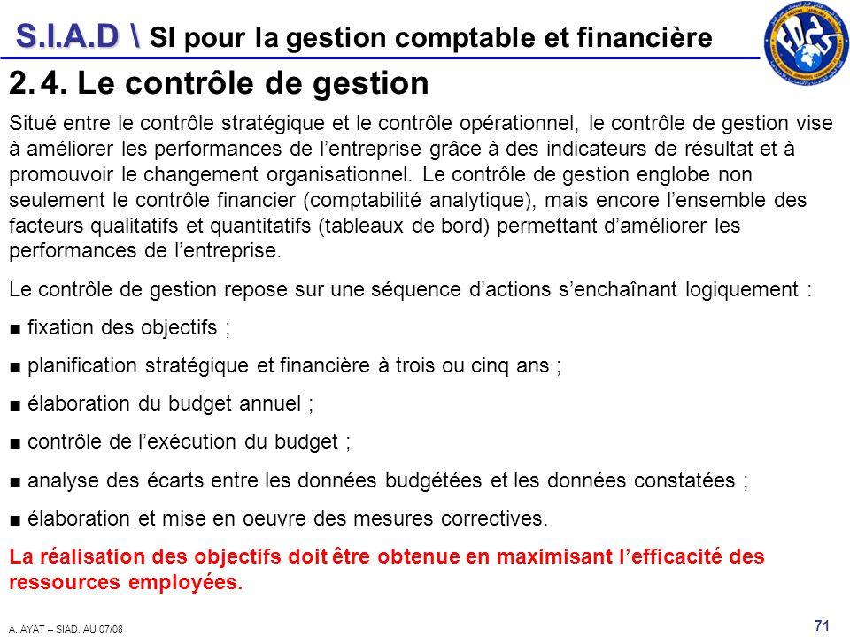 S.I.A.D \ 71 A. AYAT – SIAD. AU 07/08 SI pour la gestion comptable et financière 2.4. Le contrôle de gestion Situé entre le contrôle stratégique et le