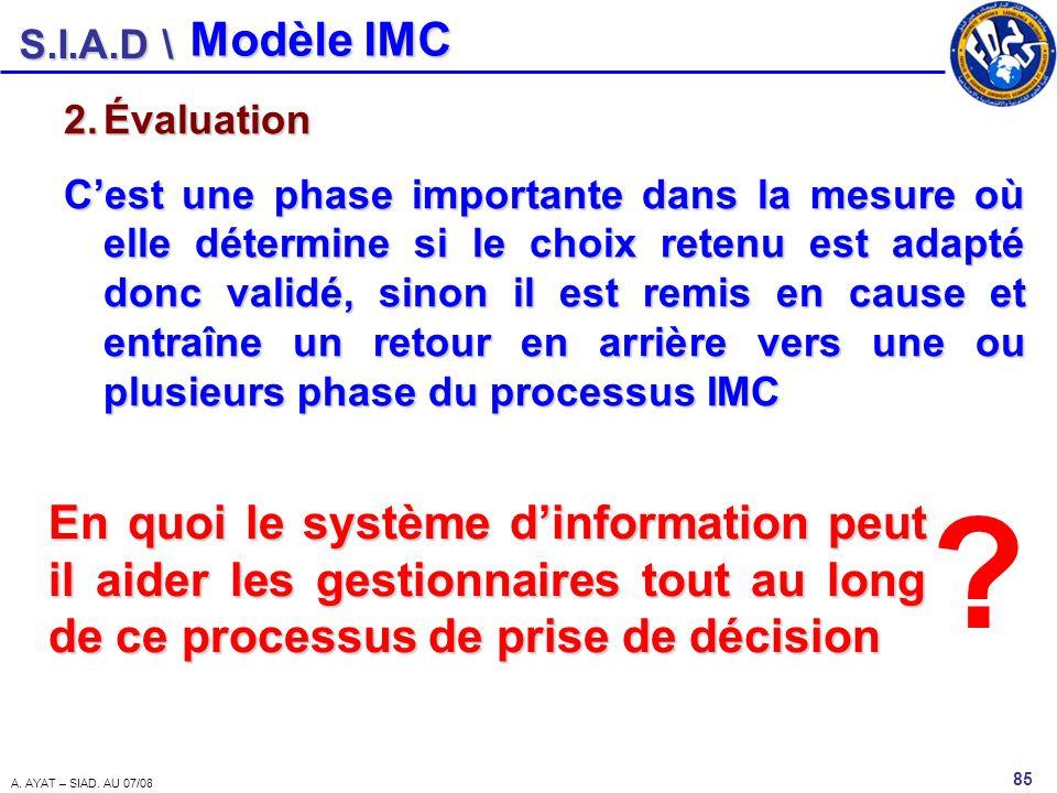 S.I.A.D \ 85 A. AYAT – SIAD. AU 07/08 2.Évaluation Cest une phase importante dans la mesure où elle détermine si le choix retenu est adapté donc valid