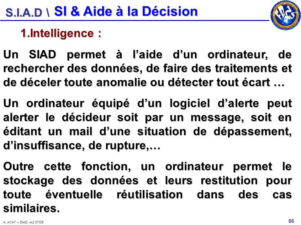 S.I.A.D \ 86 A. AYAT – SIAD. AU 07/08 SI & Aide à la Décision 1.Intelligence : Un SIAD permet à laide dun ordinateur, de rechercher des données, de fa