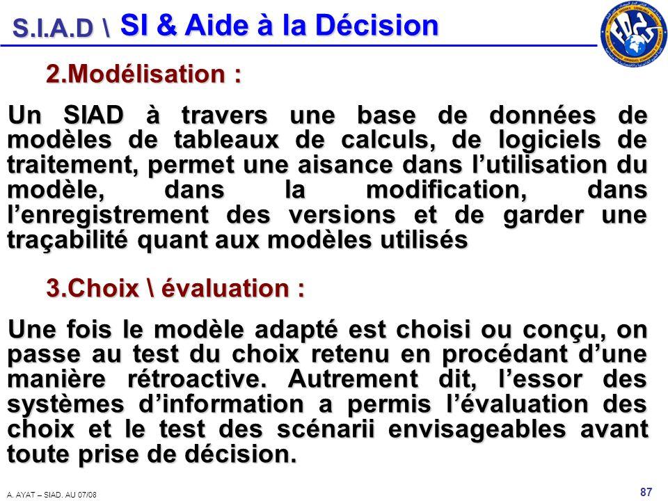 S.I.A.D \ 87 A. AYAT – SIAD. AU 07/08 SI & Aide à la Décision 2.Modélisation : Un SIAD à travers une base de données de modèles de tableaux de calculs