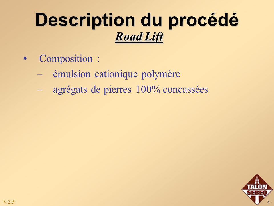 v 2.34 Description du procédé Composition : –émulsion cationique polymère –agrégats de pierres 100% concassées Road Lift