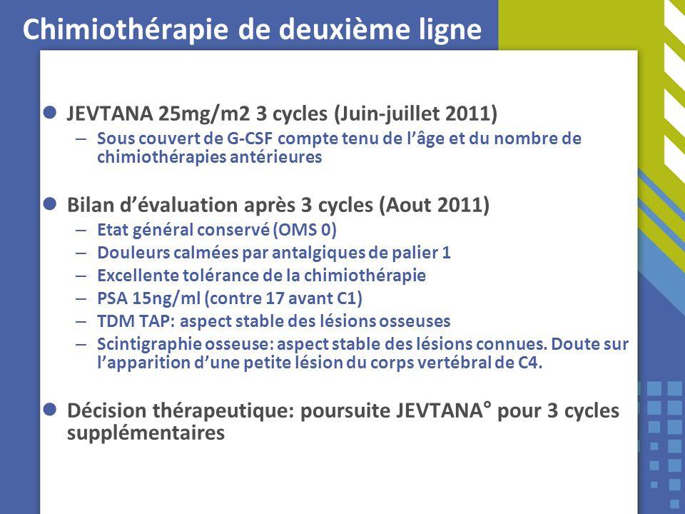 Chimiothérapie de deuxième ligne JEVTANA 25mg/m2 3 cycles (Juin-juillet 2011) – Sous couvert de G-CSF compte tenu de lâge et du nombre de chimiothérap