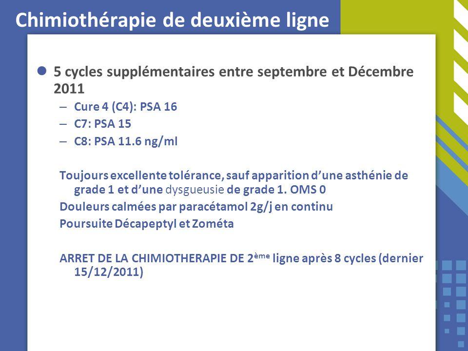 Chimiothérapie de deuxième ligne 5 cycles supplémentaires entre septembre et Décembre 2011 – Cure 4 (C4): PSA 16 – C7: PSA 15 – C8: PSA 11.6 ng/ml Tou