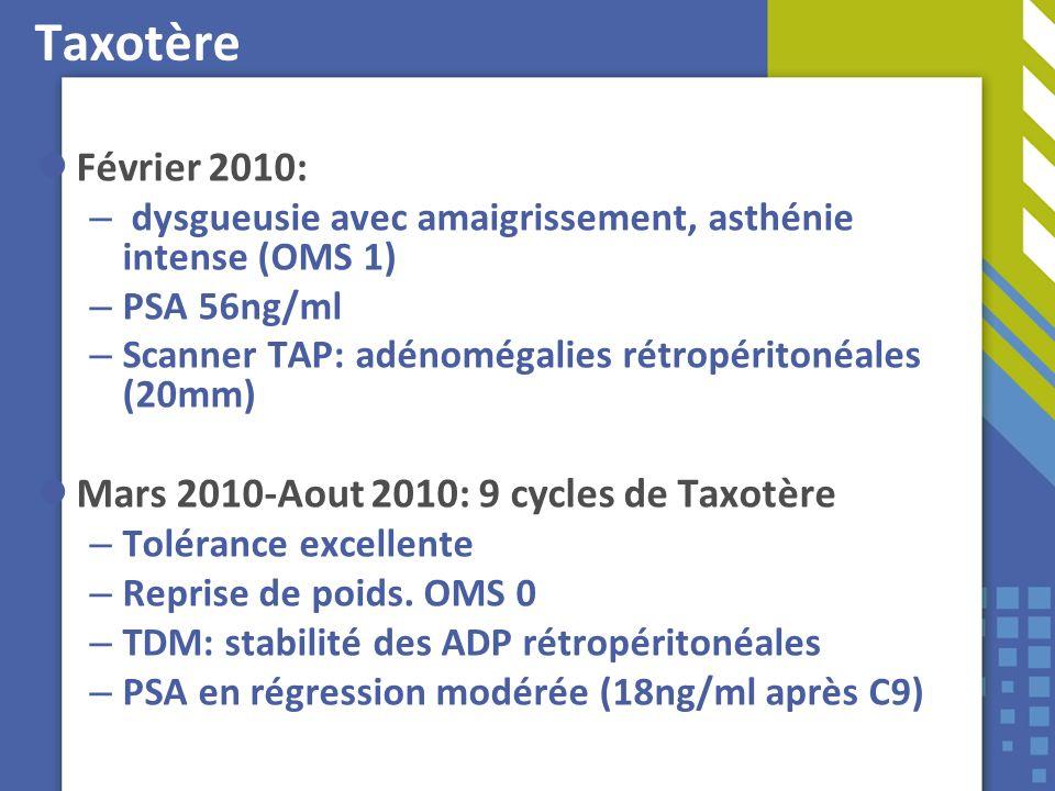 Taxotère Février 2010: – dysgueusie avec amaigrissement, asthénie intense (OMS 1) – PSA 56ng/ml – Scanner TAP: adénomégalies rétropéritonéales (20mm)