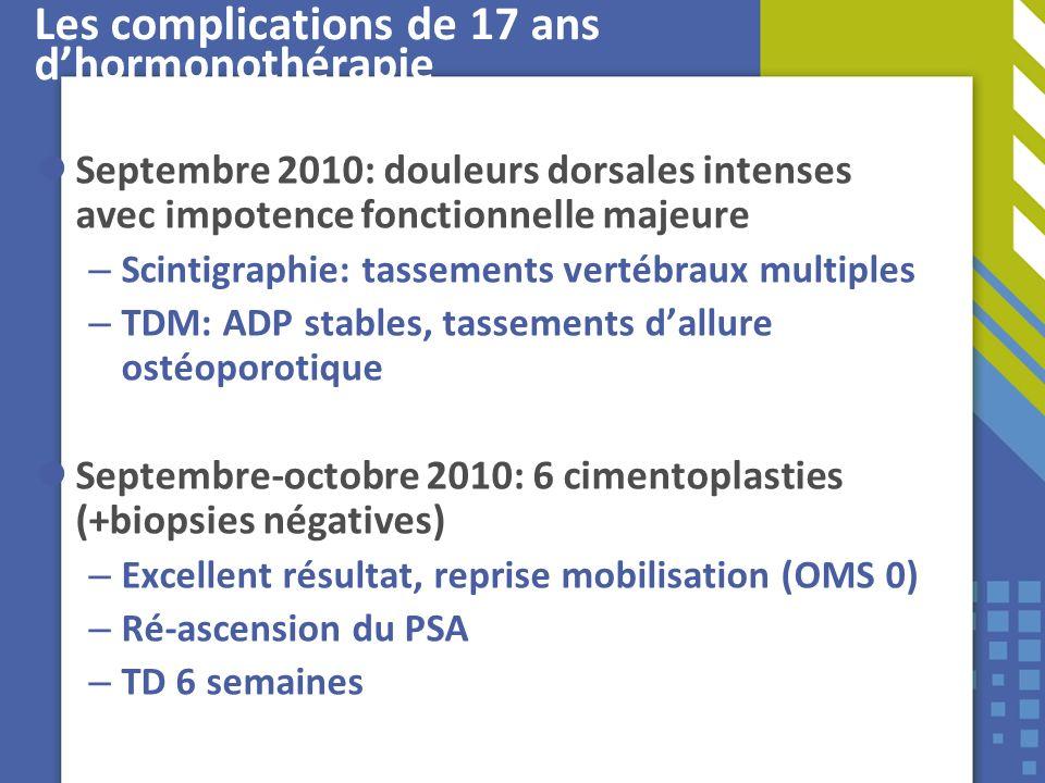 Les complications de 17 ans dhormonothérapie Septembre 2010: douleurs dorsales intenses avec impotence fonctionnelle majeure – Scintigraphie: tassemen