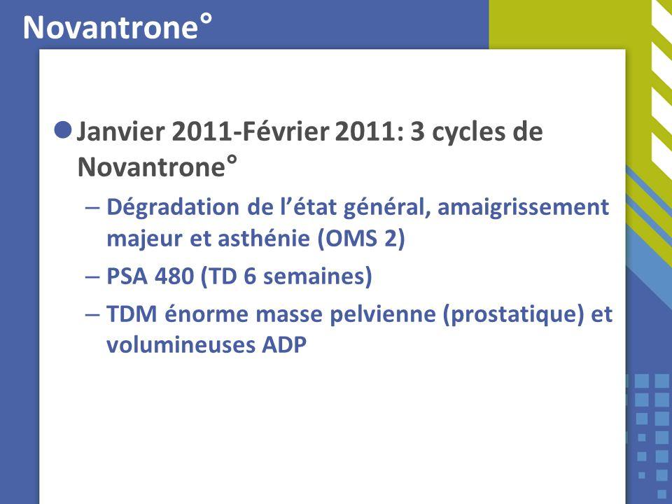 Novantrone° Janvier 2011-Février 2011: 3 cycles de Novantrone° – Dégradation de létat général, amaigrissement majeur et asthénie (OMS 2) – PSA 480 (TD