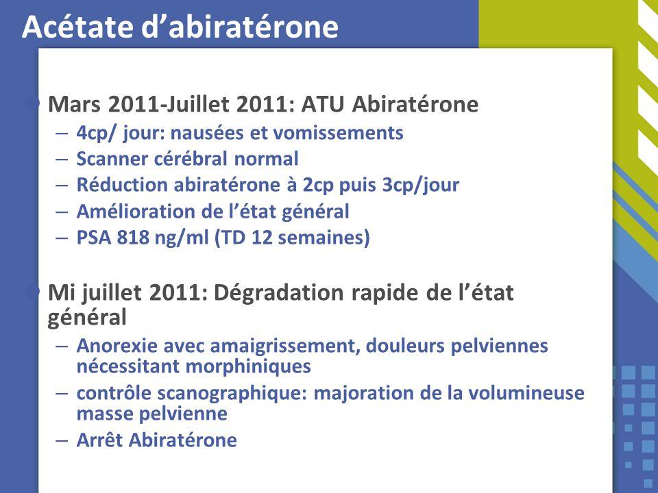 Acétate dabiratérone Mars 2011-Juillet 2011: ATU Abiratérone – 4cp/ jour: nausées et vomissements – Scanner cérébral normal – Réduction abiratérone à