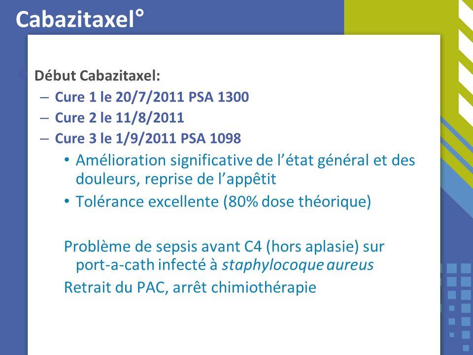 Cabazitaxel° Début Cabazitaxel: – Cure 1 le 20/7/2011 PSA 1300 – Cure 2 le 11/8/2011 – Cure 3 le 1/9/2011 PSA 1098 Amélioration significative de létat