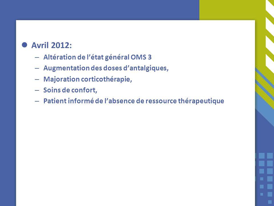 Avril 2012: – Altération de létat général OMS 3 – Augmentation des doses dantalgiques, – Majoration corticothérapie, – Soins de confort, – Patient inf
