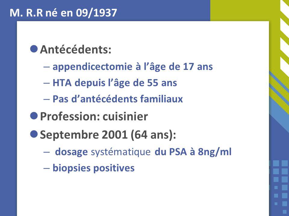 M. R.R né en 09/1937 Antécédents: – appendicectomie à lâge de 17 ans – HTA depuis lâge de 55 ans – Pas dantécédents familiaux Profession: cuisinier Se