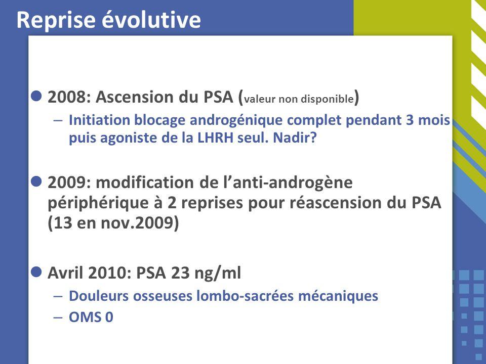 Reprise évolutive 2008: Ascension du PSA ( valeur non disponible ) – Initiation blocage androgénique complet pendant 3 mois puis agoniste de la LHRH s