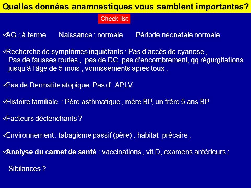 AG : à terme Naissance : normale Période néonatale normale Recherche de symptômes inquiétants : Pas daccès de cyanose, Pas de fausses routes, pas de D