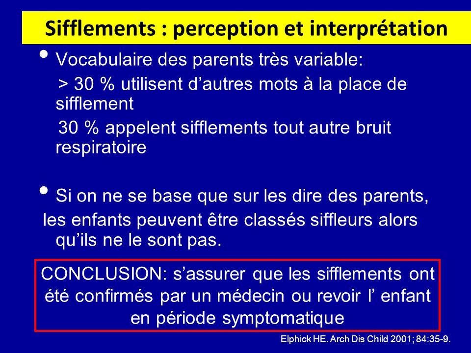 Sifflements : perception et interprétation Vocabulaire des parents très variable: > 30 % utilisent dautres mots à la place de sifflement 30 % appelent