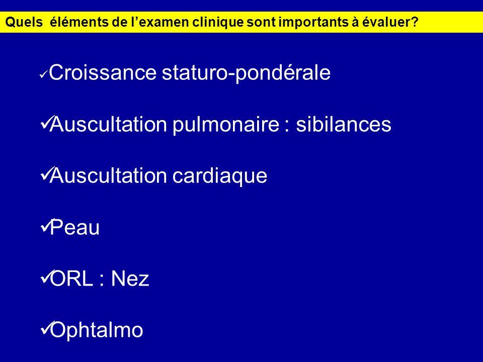 Quels éléments de lexamen clinique sont importants à évaluer? Croissance staturo-pondérale Auscultation pulmonaire : sibilances Auscultation cardiaque
