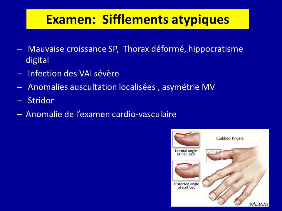 Examen: Sifflements atypiques – Mauvaise croissance SP, Thorax déformé, hippocratisme digital – Infection des VAI sévère – Anomalies auscultation loca