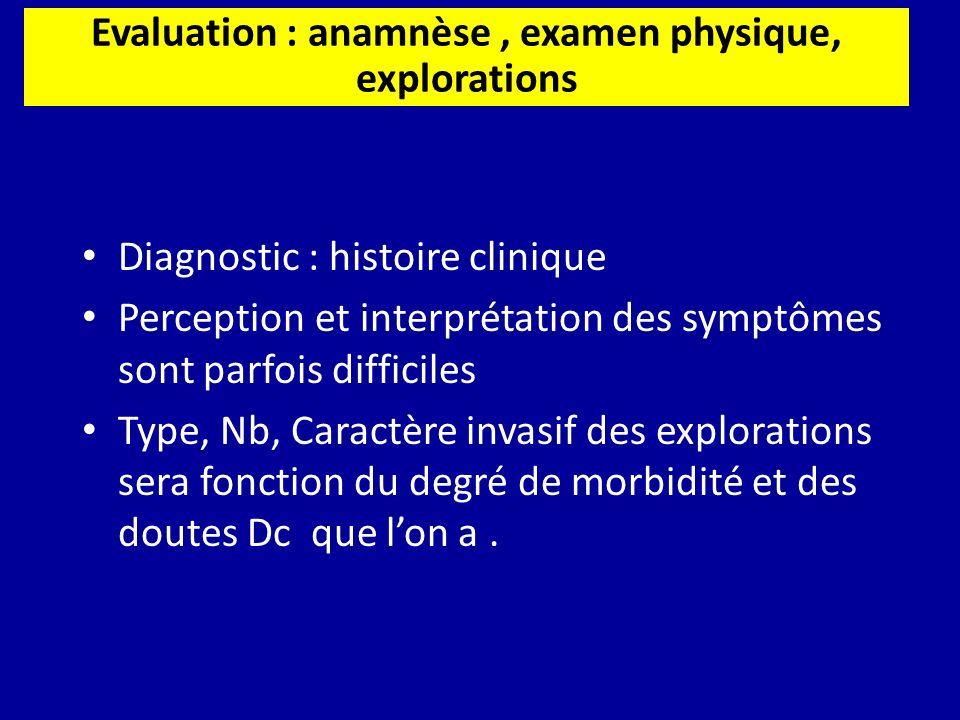Diagnostic : histoire clinique Perception et interprétation des symptômes sont parfois difficiles Type, Nb, Caractère invasif des explorations sera fo