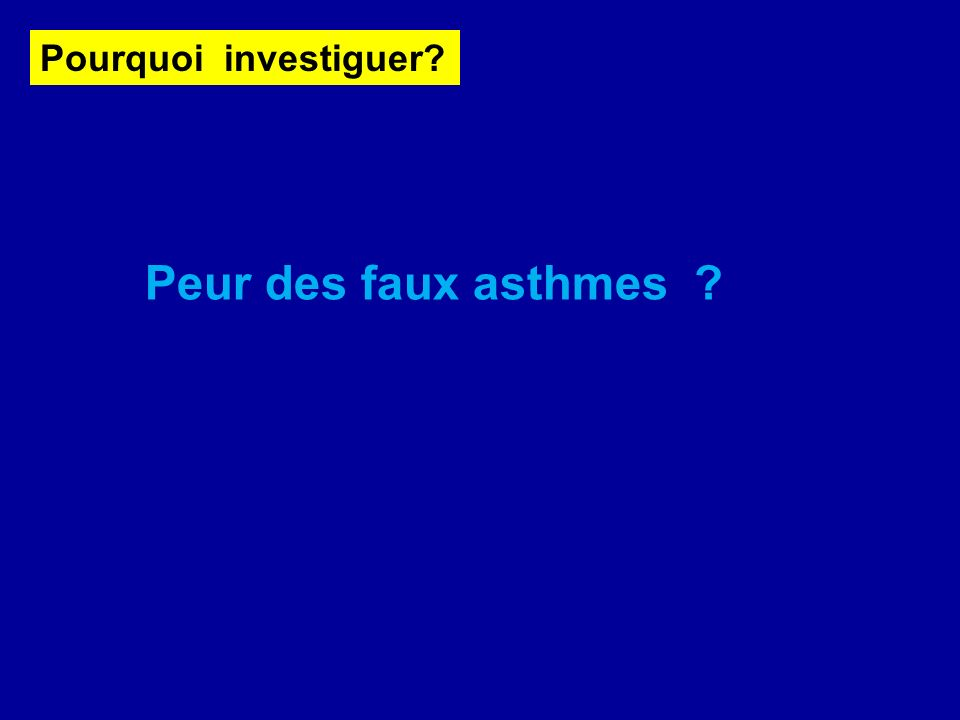 Pourquoi investiguer? Peur des faux asthmes ?