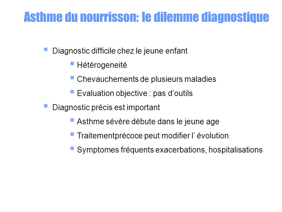 Traitement des épisodes aigus 2 agonistes Inhalés avec chambre dinhalation Addition d ipratropium peut être proposée Corticoides oraux : seulement si symptômes sévères nécessitant hospitalisation (Cochrane review CD002886)