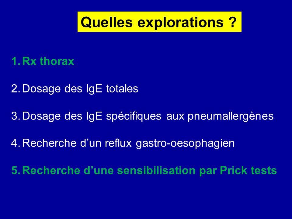 Quelles explorations ? 1.Rx thorax 2.Dosage des IgE totales 3.Dosage des IgE spécifiques aux pneumallergènes 4.Recherche dun reflux gastro-oesophagien