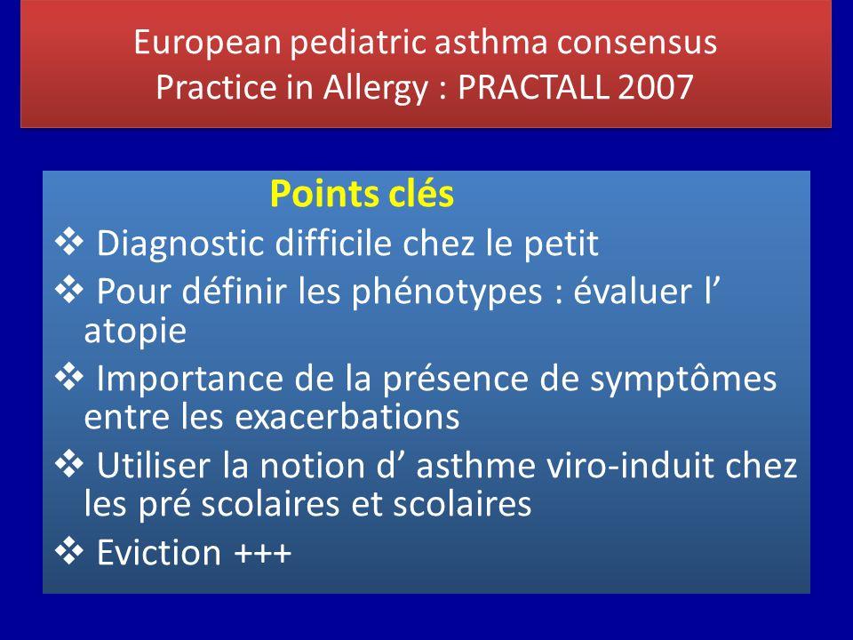European pediatric asthma consensus Practice in Allergy : PRACTALL 2007 Points clés Diagnostic difficile chez le petit Pour définir les phénotypes : é
