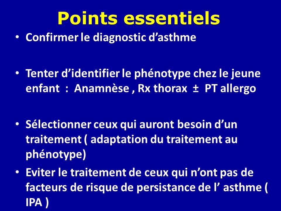 Points essentiels Confirmer le diagnostic dasthme Tenter didentifier le phénotype chez le jeune enfant : Anamnèse, Rx thorax ± PT allergo Sélectionner
