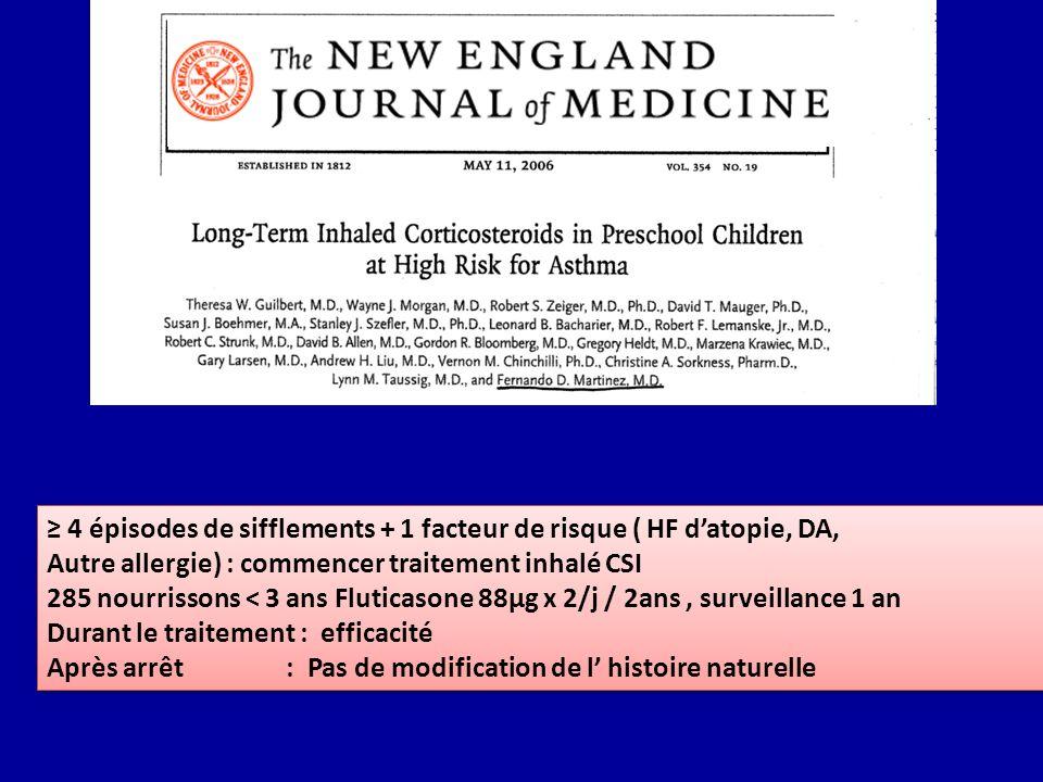 4 épisodes de sifflements + 1 facteur de risque ( HF datopie, DA, Autre allergie) : commencer traitement inhalé CSI 285 nourrissons < 3 ans Fluticason