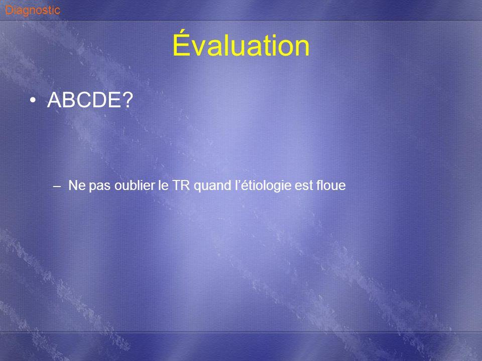 Évaluation ABCDE? –Ne pas oublier le TR quand létiologie est floue Diagnostic