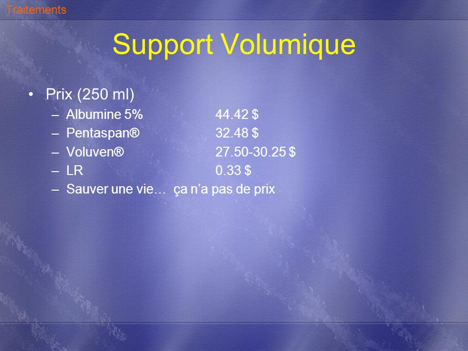Support Volumique Hémorragique = culot, plasma selon ratio PTM, pensez O - Transfusion.