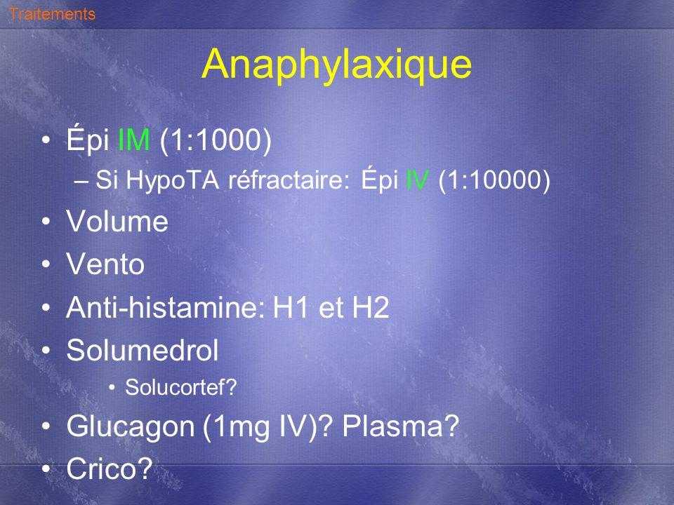 Anaphylaxique Épi IM (1:1000) –Si HypoTA réfractaire: Épi IV (1:10000) Volume Vento Anti-histamine: H1 et H2 Solumedrol Solucortef? Glucagon (1mg IV)?