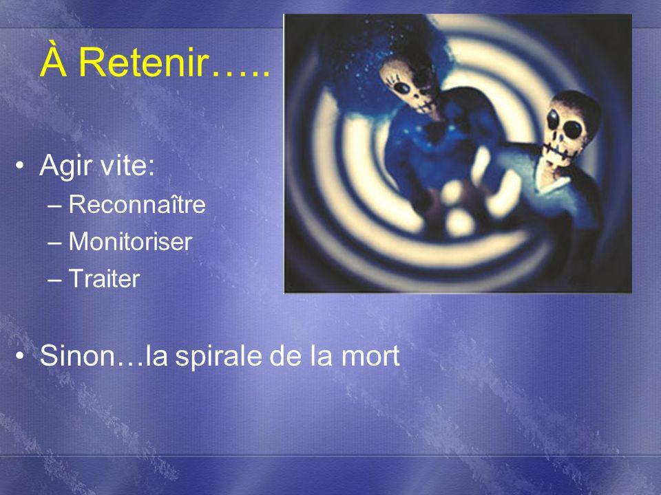 À Retenir….. Agir vite: –Reconnaître –Monitoriser –Traiter Sinon…la spirale de la mort