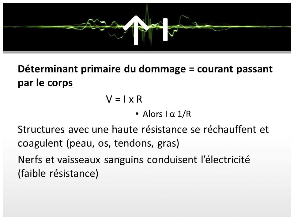 I Déterminant primaire du dommage = courant passant par le corps V = I x R Alors I α 1/R Structures avec une haute résistance se réchauffent et coagulent (peau, os, tendons, gras) Nerfs et vaisseaux sanguins conduisent lélectricité (faible résistance)