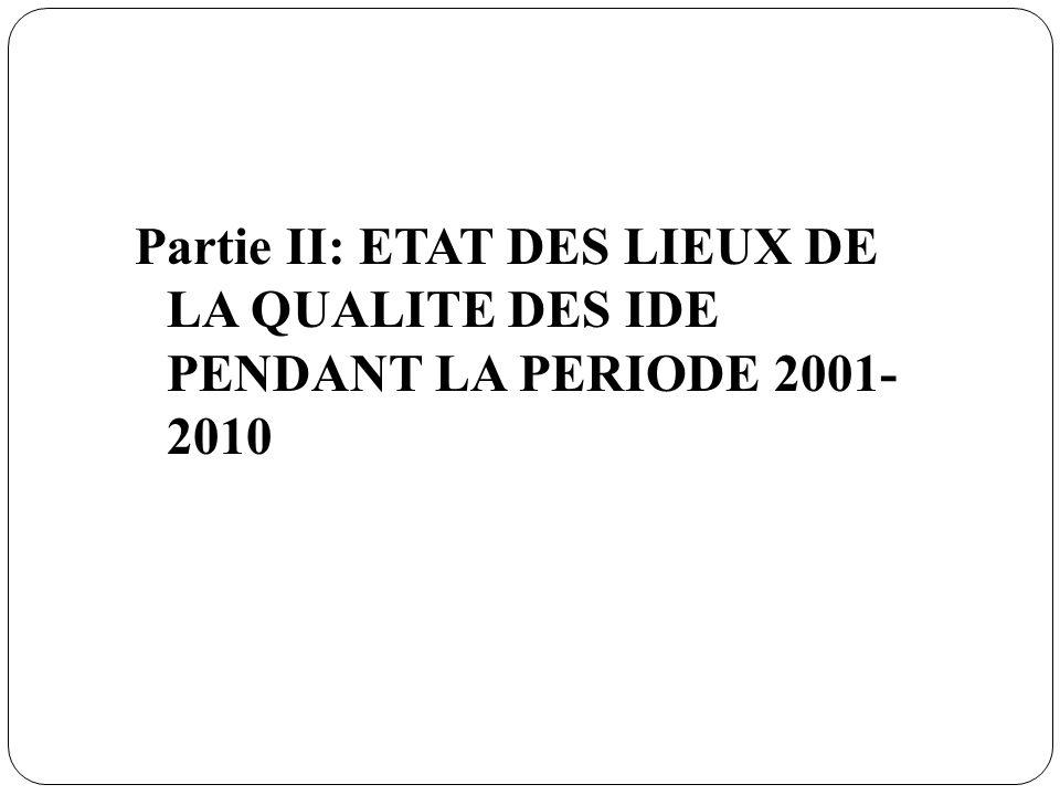 Partie II: ETAT DES LIEUX DE LA QUALITE DES IDE PENDANT LA PERIODE 2001- 2010