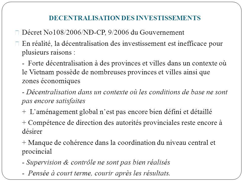 DECENTRALISATION DES INVESTISSEMENTS Décret No108/2006/NĐ-CP, 9/2006 du Gouvernement En réalité, la décentralisation des investissement est inefficace