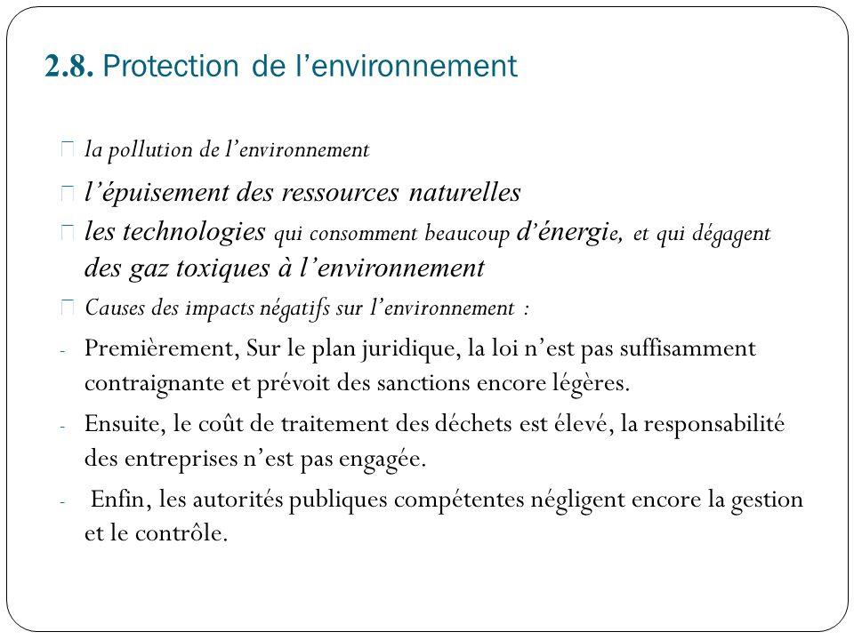 2.8. Protection de lenvironnement la pollution de lenvironnement lépuisement des ressources naturelles les technologies qui consomment beaucoup d éner