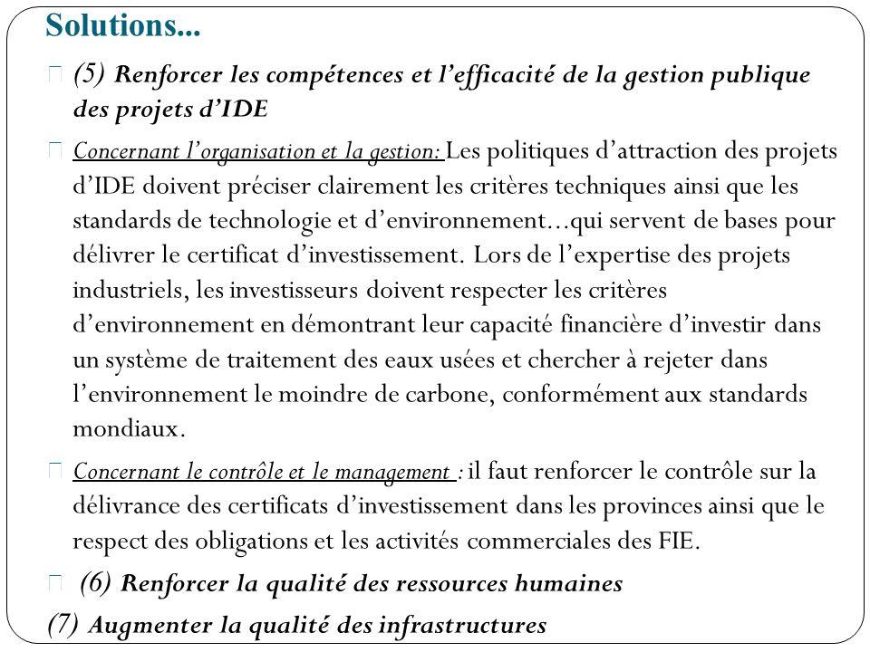 Solutions... (5) Renforcer les compétences et lefficacité de la gestion publique des projets dIDE Concernant lorganisation et la gestion: Les politiqu