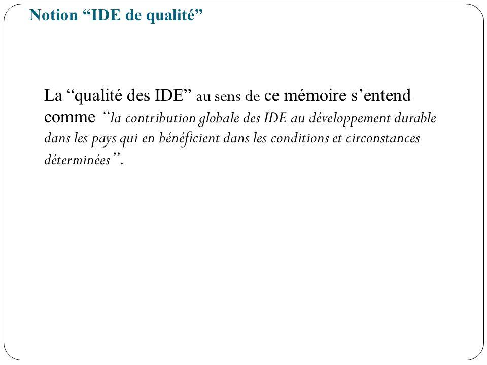 Notion IDE de qualité La qualité des IDE au sens de ce mémoire sentend comme la contribution globale des IDE au développement durable dans les pays qu