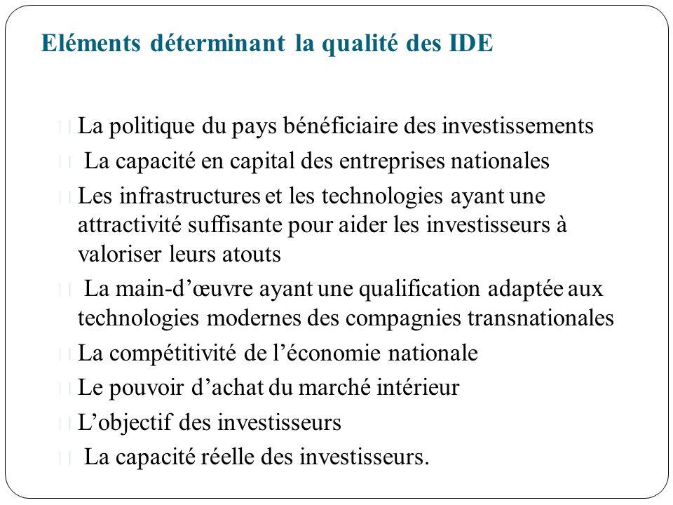 Eléments déterminant la qualité des IDE La politique du pays bénéficiaire des investissements La capacité en capital des entreprises nationales Les in
