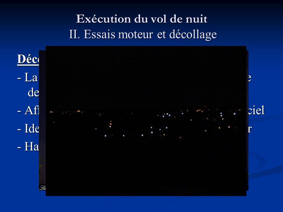 Exécution du vol de nuit II. Essais moteur et décollage Décollage - La rotation peut être déroutante : perte subite des références extérieures - Affic