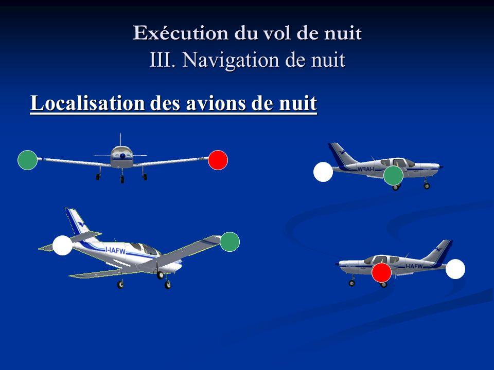 Exécution du vol de nuit III. Navigation de nuit Localisation des avions de nuit