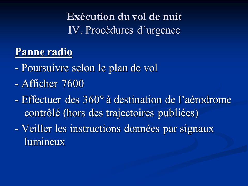 Exécution du vol de nuit IV. Procédures durgence Panne radio - Poursuivre selon le plan de vol - Afficher 7600 - Effectuer des 360° à destination de l