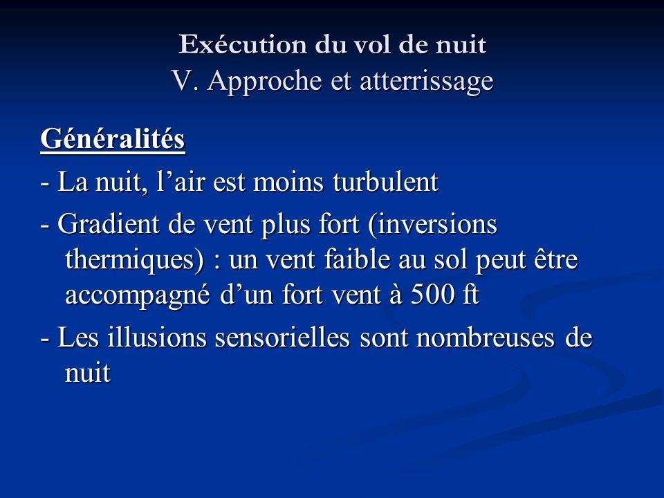 Exécution du vol de nuit V. Approche et atterrissage Généralités - La nuit, lair est moins turbulent - Gradient de vent plus fort (inversions thermiqu