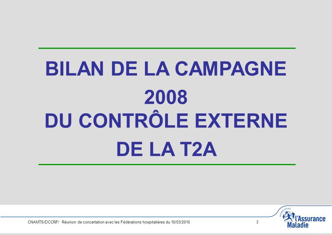 CNAMTS/DCCRF/ Réunion de concertation avec les Fédérations hospitalières du 10/03/2010 14 PRIORITES NATIONALES CAMPAGNE T2A 2010