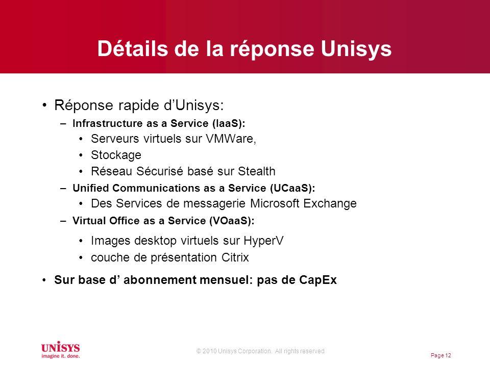 © 2010 Unisys Corporation. All rights reserved Détails de la réponse Unisys Réponse rapide dUnisys: –Infrastructure as a Service (IaaS): Serveurs virt