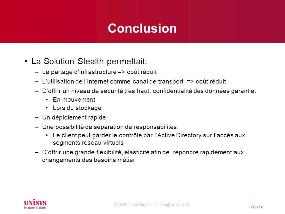 © 2010 Unisys Corporation. All rights reserved Conclusion La Solution Stealth permettait: –Le partage dinfrastructure => coût réduit –Lutilisation de