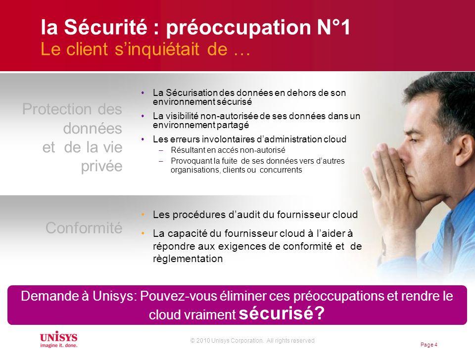 © 2010 Unisys Corporation. All rights reserved Page 4 la Sécurité : préoccupation N°1 Le client sinquiétait de … La Sécurisation des données en dehors