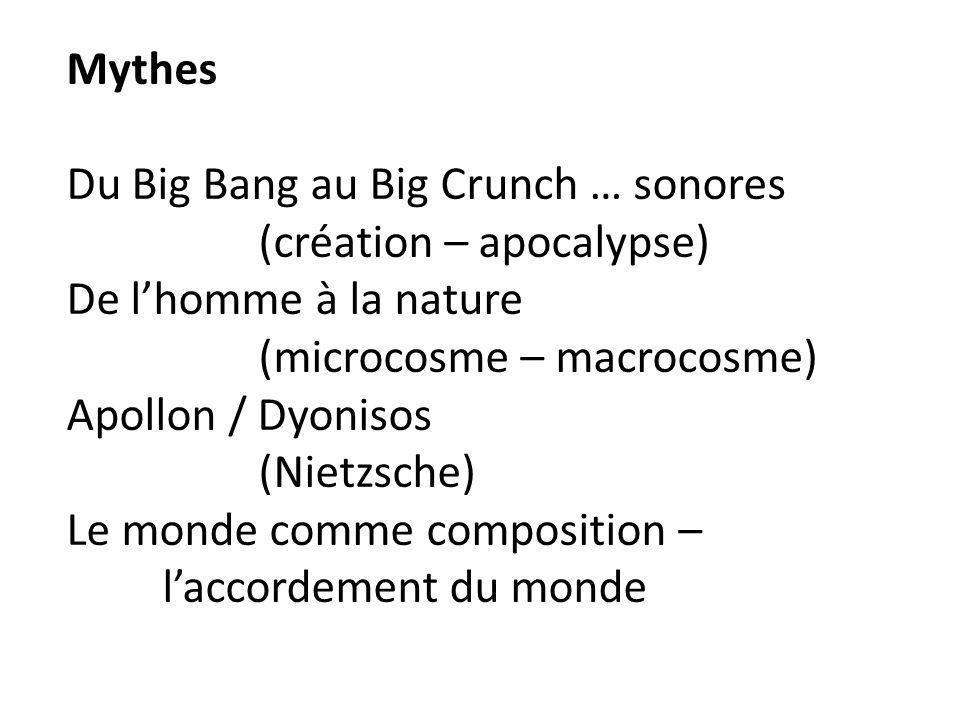 Mythes Du Big Bang au Big Crunch … sonores (création – apocalypse) De lhomme à la nature (microcosme – macrocosme) Apollon / Dyonisos (Nietzsche) Le m