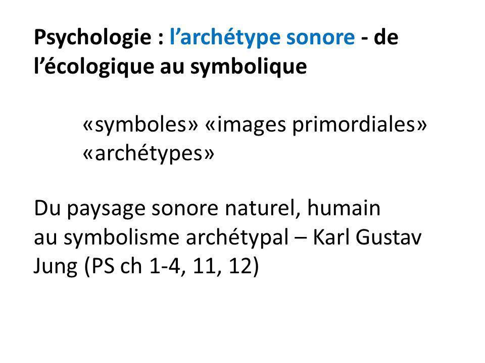 Psychologie : larchétype sonore - de lécologique au symbolique «symboles» «images primordiales» «archétypes» Du paysage sonore naturel, humain au symb